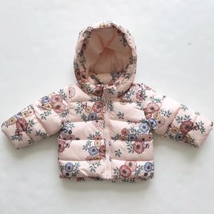 H&M floral print hooded puffer coat EUC 4-6 months